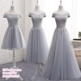 191086 (SHORT)Bridesmaid Sister Dinner Dress Short/Midi/Maxi Lacey Dress Grey