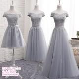191086 (MAXI)Bridesmaid Sister Dinner Dress Short/Midi/Maxi Lacey Dress Grey