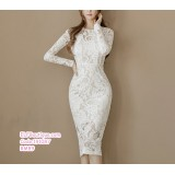 191087 New Fashion Lacey Slim Fit Round Neck Long Sleeve Dress White