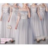 191081 Chinese Style Elegant Bridesmaid Sister Maxi Dress Grey/Pink