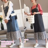 191089 Korean style students Sling Denim Dress Jeans Loose Midi Dress Blue/Black