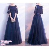 191064 Woman Lacey Dinner Maxi Dinner Gown Navy Blue