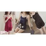 191133 Woman Silk Sleeveless Sling Pyjamas Set Red/Black/Blue