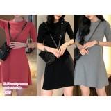 191128 A Line Short Sleeve Slim T shirt Dress Midi Dress Red/Grey/Black