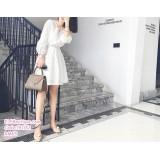 191142 Office Ladies Lacey Mini Dress V-Neck Long Sleeve Dress White/Dark Orange