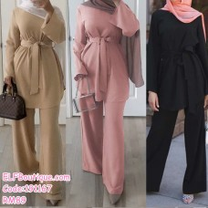 191167 Muslimah Simple Fashion Suit Top + Pants Khaki/Pink/Black