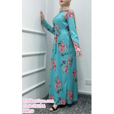 191166 Muslimah Floral Printed Jubah Long Sleeve Round Neck Dress White/Pink/Black/Lake Blue