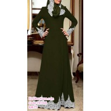 191168 Muslimah Jubah Long Sleeves Dress Purple/Green/Black/Army Green/Wine Red