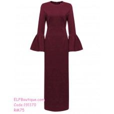 191170 Muslimah Fashion Bell Sleeves Jubah Dress Wine Red/Navy Blue/Black/Green
