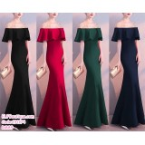 191174 Bride's Wedding Dinner Cocktail Party Fishtail Maxi Dress Black/Red/Green/Blue