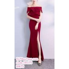 191175 Bride's Wedding Party Elegant Off Shoulder Split Fish Tail Maxi Dress Red/Navy Blue/Wine Red/Black