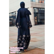 191176 Muslimah Lacey Flower Pyjamas Robe Waistband Dark Blue/Wine Red