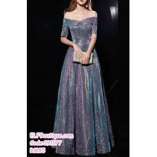 191177 Elegant Off Shoulder Slim Shinning Dinner Dress Maxi Dress Grey/Gold