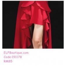 191178 Bride's Wedding Party Sling Dress Slim Split Maxi Dress Black/Red