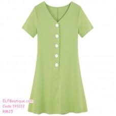 191012 Simple Button V Neck Short Sleeve T Shirt Dress Green Black