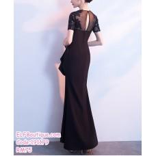 191179 Elegant High Split Long Gown Maxi Dinner Dress Black/Blue/Red