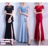 191179 Elegant High Split Long Gown Maxi Dinner Dress Black/Blue/Red
