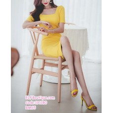 191180 Korean Fashion Square Collar Midi Dress Short Sleeve Dress Yellow