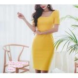 191180 Korean Fashion Square Collar Midi Dress Short Sleeve Dress Yellow