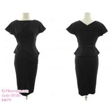 191181 Korean Styles Elegant Office Ladies Slim Midi Dress Black/Pink