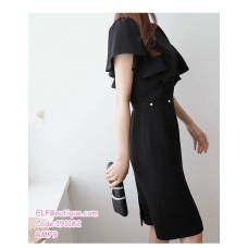 191182 Summer Korean Style Elegant Ruffle Sleeve Slim Office Ladies Midi Dress Yellow/Black