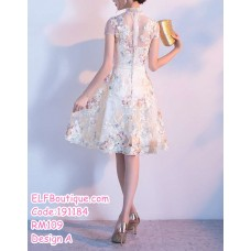 191184 Fashion Chinese Style Embroidery Flower Midi Dress Champagne