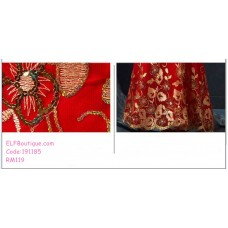 191185 Bridal Fishtail Cheongsam Wedding Party Dinner Slim Maxi Dress Red