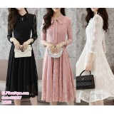 191137 Woman Long Sleeves Slim Lacey Ribbon Midi Dress Black/Pink/White
