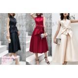 191148 Elegant Standing Collar V-Neck Big Ribbon Dinner Dress Black/Wine Red/Champagne