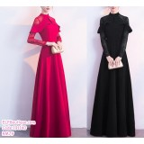 191140 Fishtail Chinese Traditional Costume Wedding Dinner Party Maxi Dress Red/Black