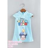 191121 Baby Girl Disney Tsum Tsum Cheongsam Dress Blue