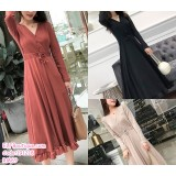 191218 Long Sleeve Button Fish Tail Dress Red/Black/Apricot