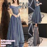191132 Korean style Off Shoulder Shinning Starry Slim Dinner Gown Gold Grey/Silver Grey