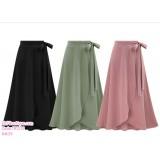 191231 High Waist Ribbon Fish Tail Midi Skirt Plus Size to 6XL Black/Pink/Army Green