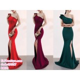 191217 Elegant Single Off Shoulder Fish Tail Gown Red/Wine Red/Green/Navy Blue/Black/Apricot/Blue