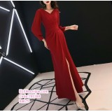 191188 V-Neck Slim Fish Tail Dinner Dress Evening Maxi Gown Red