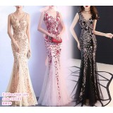 191189 Elegant Bride's V-Neck Embroidered Dinner Gown Fish Tail Maxi Dress Red/Black/Apricot