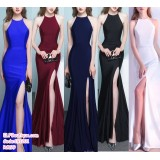 191201 Premium Bridesmaid Fishtail Dinner Gown Halter Dress Blue/Jujube Red/Navy Blue/Black/White/Red