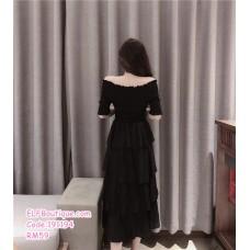 191194 Elegant Off Shoulder Slim Layer Midi Dress Black