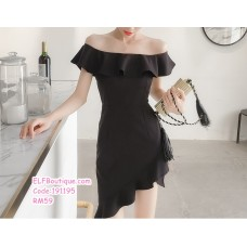 191195 Korean Style Off Shoulder Ruffle Dress High Waist Slim Mini Dress Green/Black