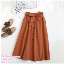 191260 A Line Button High Waist Midi Skirts Army Green/Apricot/Khaki/Black/Brown