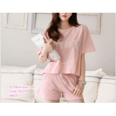 191254 Korean Style Casual Sports Set T Shirt + Pants Sleepwear Set Grey/Pink