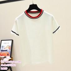 191262 Summer Korean Ladies Cotton T Shirt Black/Red/White
