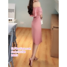 191198 Korean Style Elegant Slim High Waist Midi Dress Pink/Black