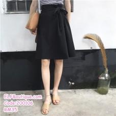 200106 Korean Type Slim Ribbon A-Line Skirts Office Ladies Midi Skirts Apricot/Black