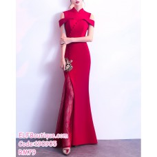 190905 Red Fishtail Chinese Traditional Costume Wedding Dinner Party Maxi Dress