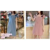 191200 Fashion Button Breastfeeding Maternity Loose Midi Dress Blue/Pink
