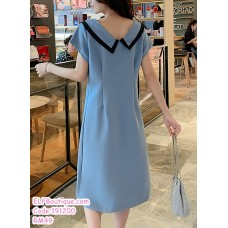 191200 Fashion Button Breastfeeding Maternity Loose Midi Dress Blue/Pink