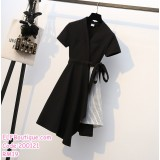 200121 Plus Size Budget Short Sleeve Dress Black