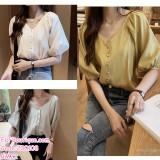 200108 Plus Size Summer Korean Fashion V-Neck Chiffon Shirt White/Green/Yellow